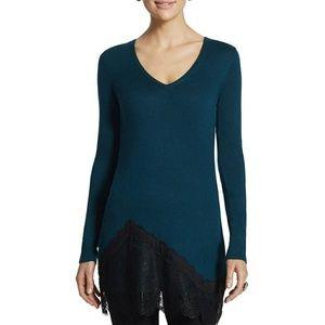 Chico's Teal Blue Black Lace Hem Tunic Sweater